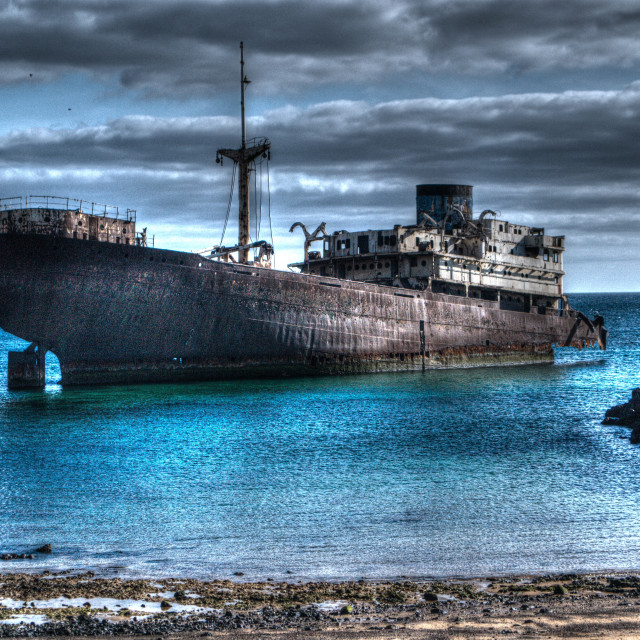 """""""The Temple Hall shipwreck, Arrecife, Lanzarote in HDR"""" stock image"""