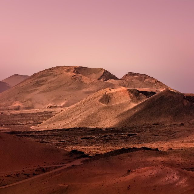 """""""Volcanic landscape at dawn, Lanzarote"""" stock image"""