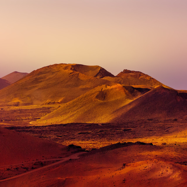 """""""Volcanic landscape at dawn in high definition, Lanzarote"""" stock image"""