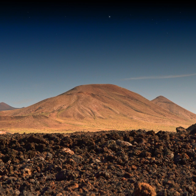 """""""Volcanic landscape at sunset, Lanzarote"""" stock image"""