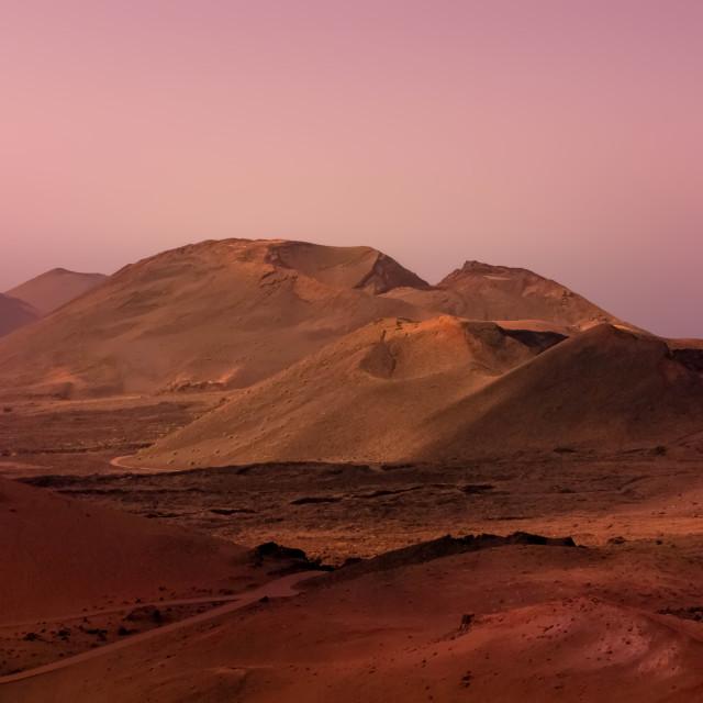"""""""Volcanic landscape, pre-dawn, Lanzarote"""" stock image"""