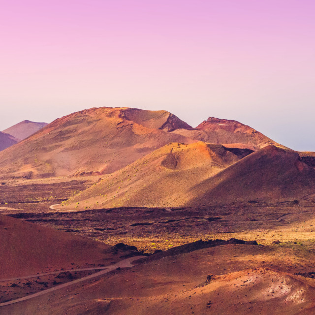 """""""Volcanic landscape with pink sky, Lanzarote"""" stock image"""