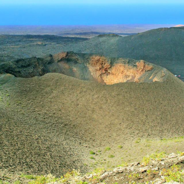 """Volcano with blue sky, Lanzarote"" stock image"