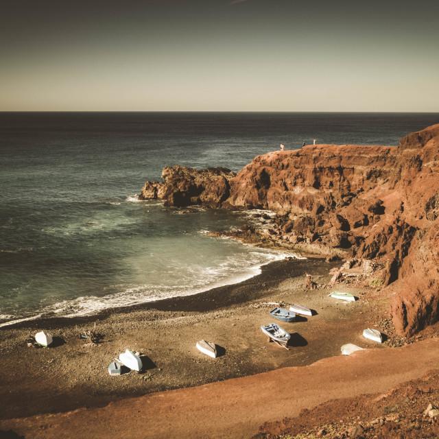 """West coast seascape, Lanzarote"" stock image"
