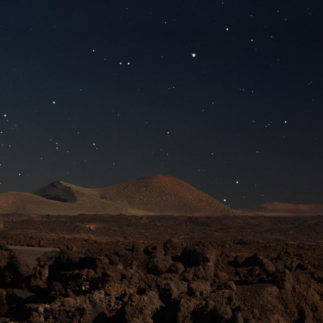 """Volcanoes and stars, Lanzarote"" stock image"