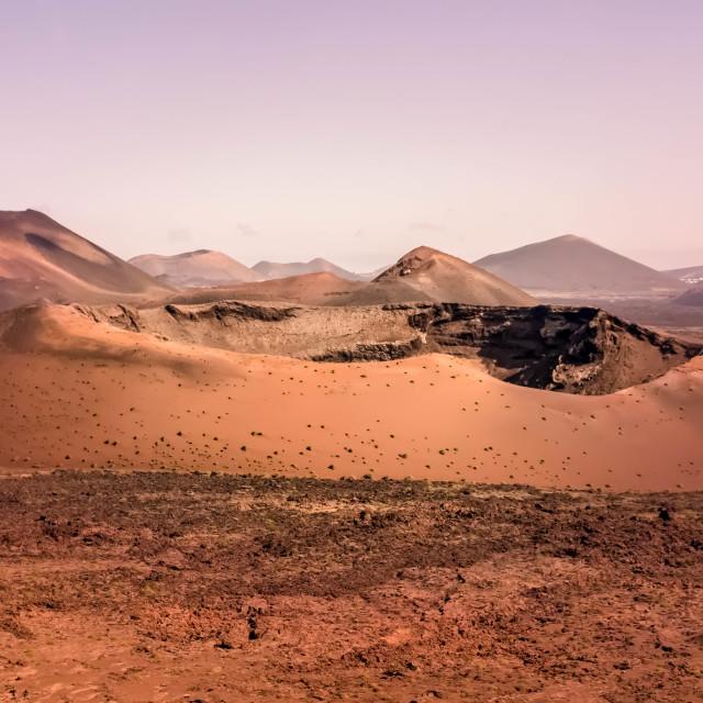 """Volcano, pink sky, Lanzarote"" stock image"