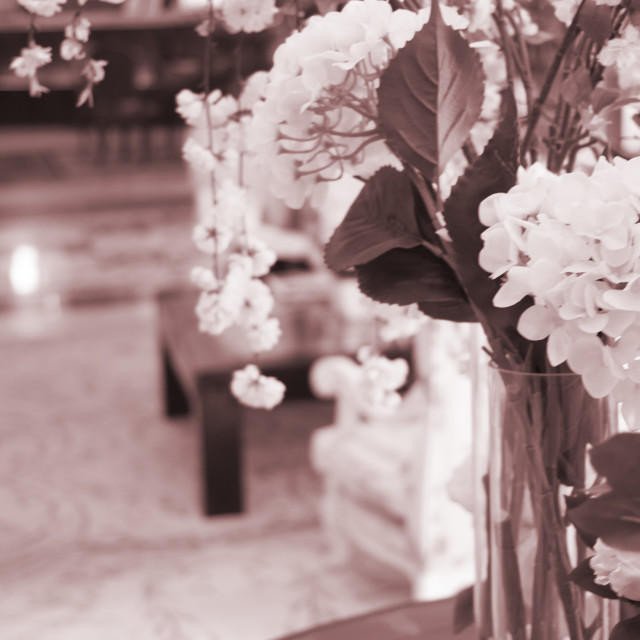 """Wedding flowers in marriage hotel"" stock image"