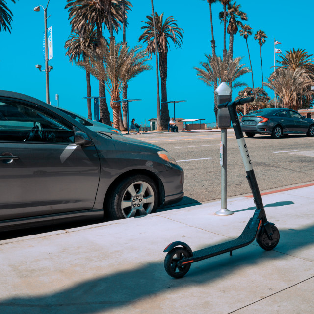 """""""Bird Electric Ride Sharing Scooters in the sunny LA"""" stock image"""