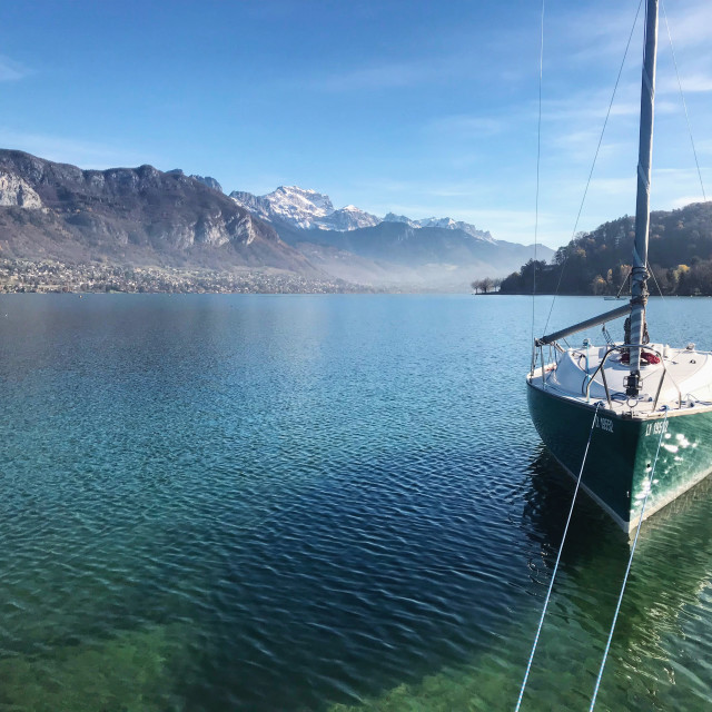 """""""A boat docked on lake Annecy"""" stock image"""
