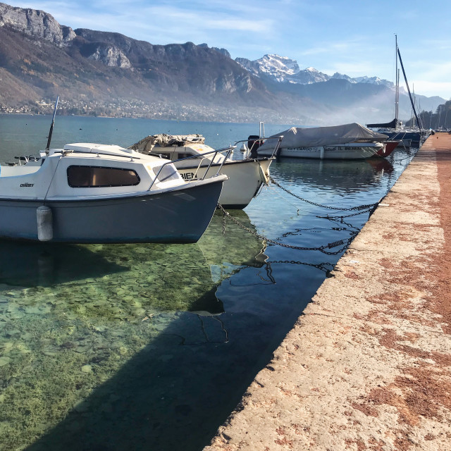 """""""Boats docked on Lake Annecy, France"""" stock image"""