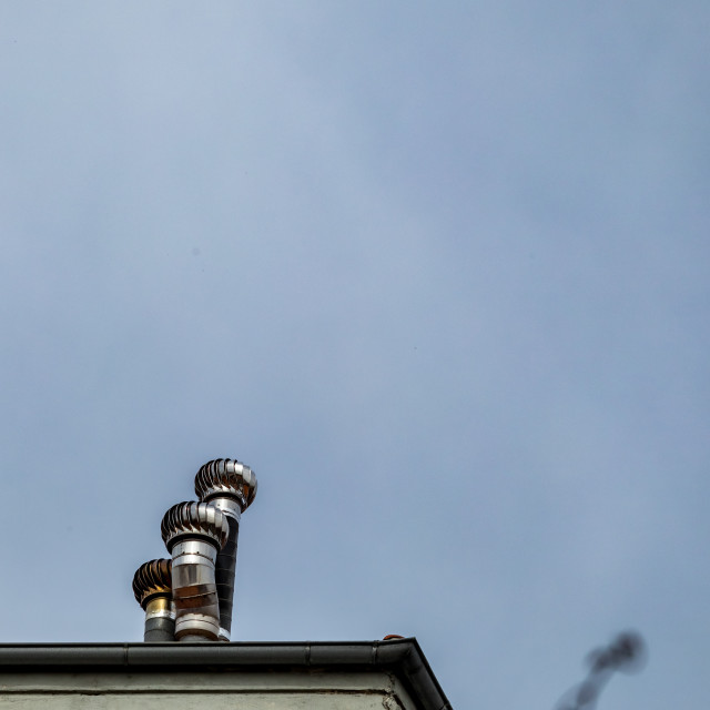 """Tin chimneys, Xanthi, Greece, sunny spring day"" stock image"