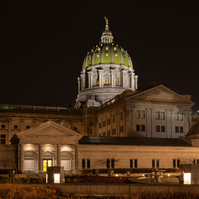 """Harrisburgh State Capital at Night"" stock image"
