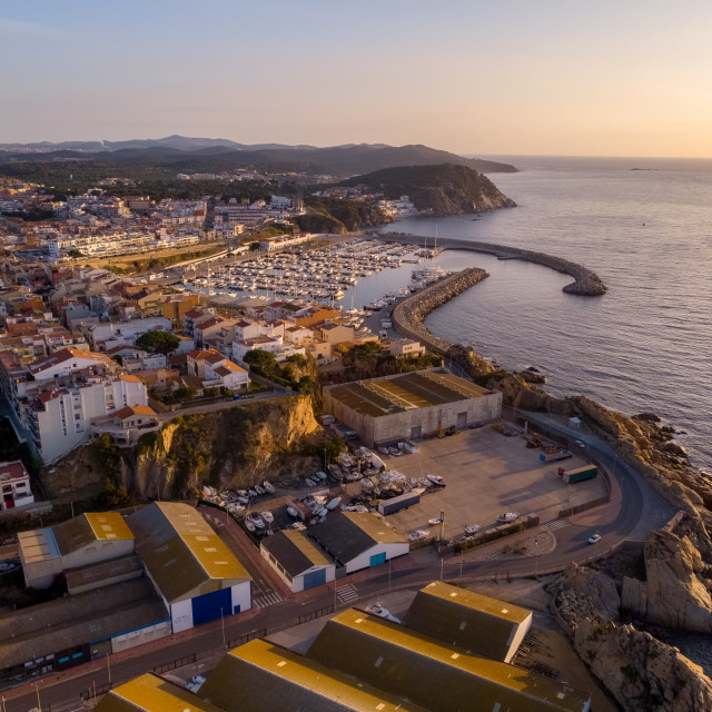 """Aerial drone picture from small town Palamos from Spain, in Costa Brava"" stock image"