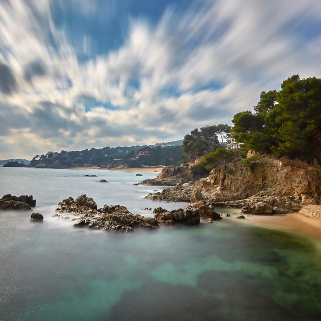 """Costa brava landscape with long exposure technique"" stock image"