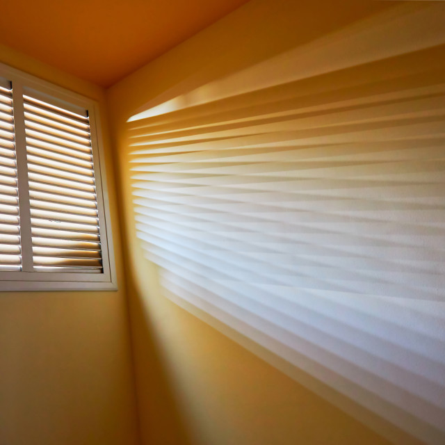 """Interesting light texture effect through the window on the corridor"" stock image"