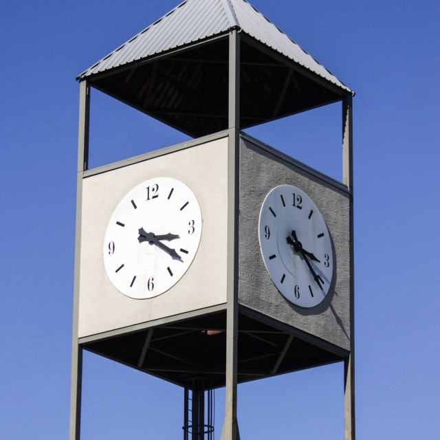 """""""Clock tower on a sunny afternoon"""" stock image"""