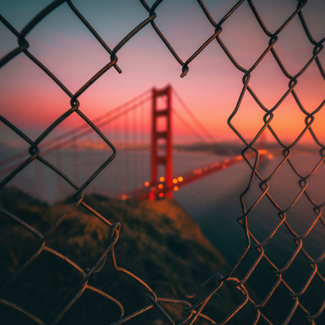 """Golden Gate Caged"" stock image"