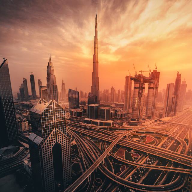 """Dubai's Fiery sunset"" stock image"