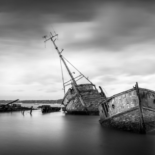 """Pin Mill Boat Graveyard Black and White"" stock image"