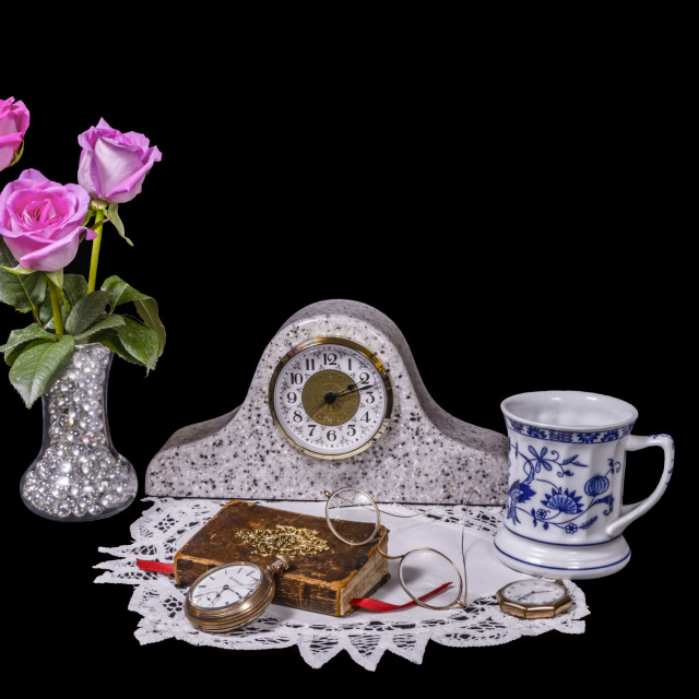 """""""Antique Vignette with Pink Roses, Bible and Blue and White Musta"""" stock image"""