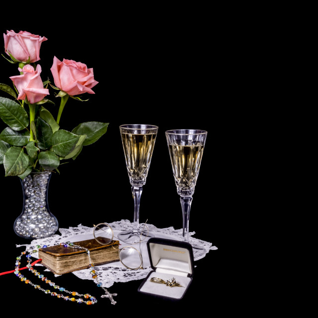 """""""Wedding Vignette with Bible, Rings and Champagne"""" stock image"""