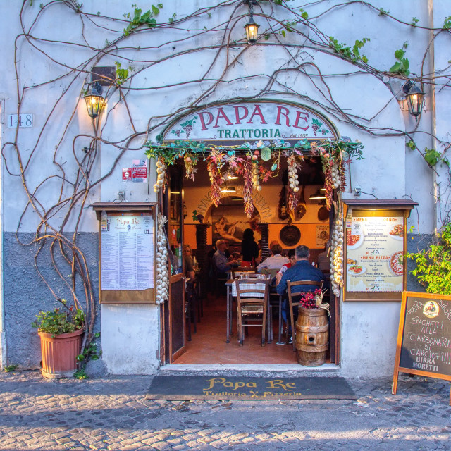 """Historic trattoria Papa Re in Trastevere, Rome."" stock image"