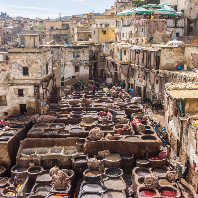 """Leather Tanneries, Morocco"" stock image"