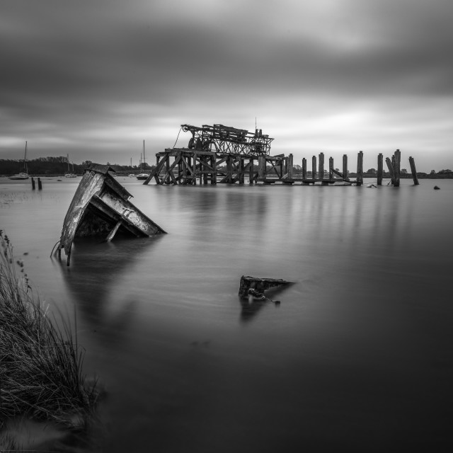 """Alresford Creek Wreck"" stock image"