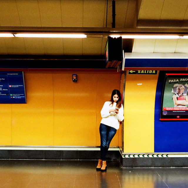 """""""Alone at a metro station!"""" stock image"""