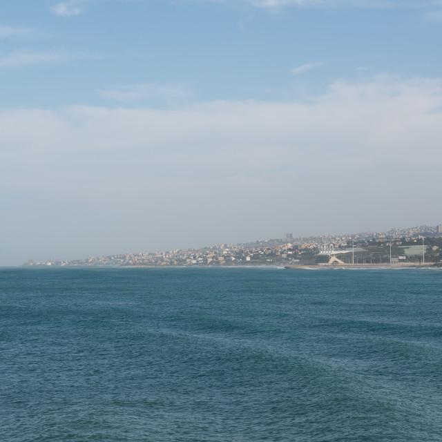 """Lebanon coast from Saida with Beirut skyline"" stock image"
