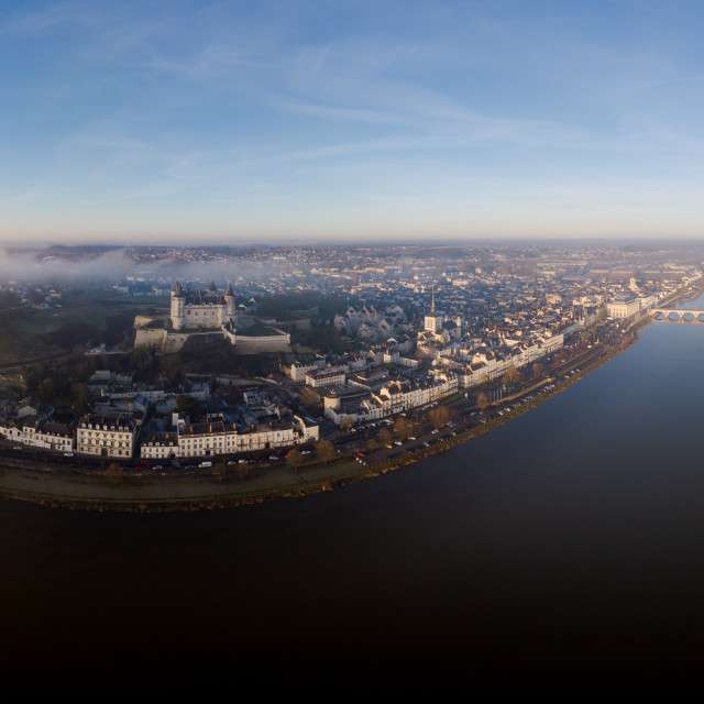 """""""Saumur and the Loire river at sunrise"""" stock image"""