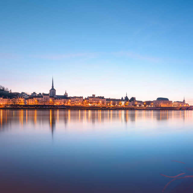 """""""Saumur and the Loire river at sunset"""" stock image"""