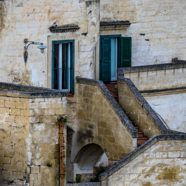 """""""Funny sad house face of house in Matera, Italy"""" stock image"""