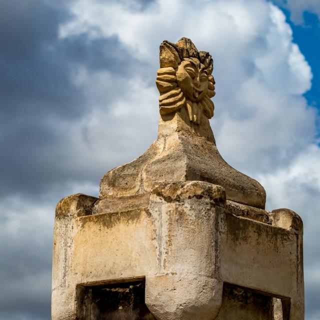 """Chimney decoration, street view, Matera, Italy"" stock image"
