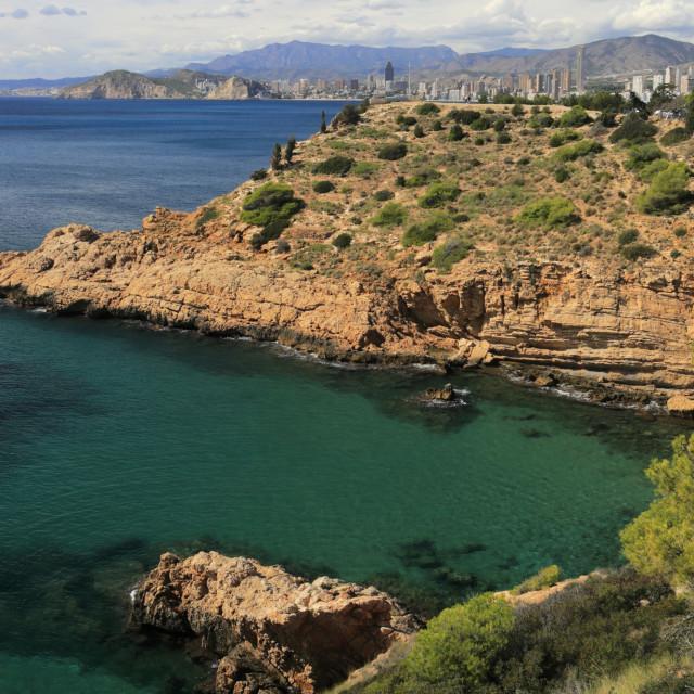 """""""Cala Tio Ximo beach,Serra Gelada Natural Park, Benidorm resort, Costa Blanca,..."""" stock image"""