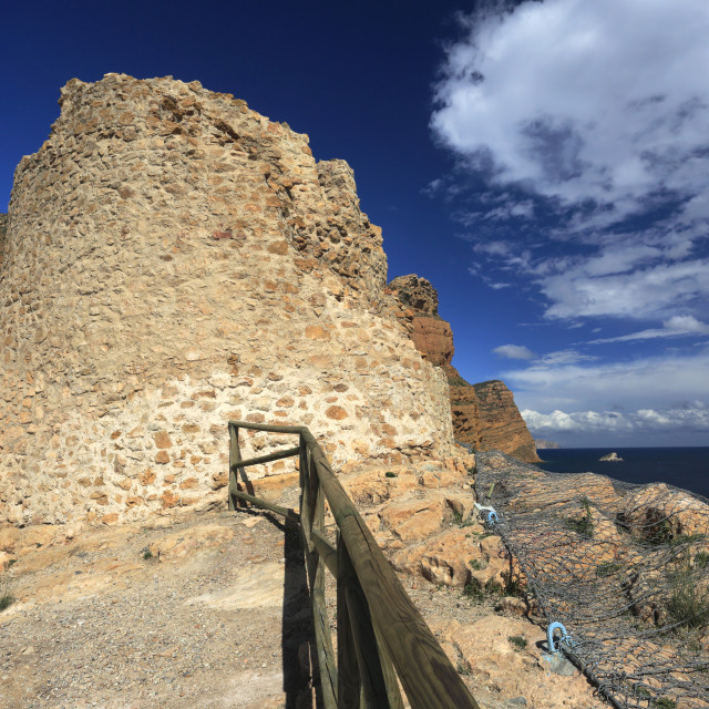 """""""The Tower of Caletes on the Sea Cliffs of Serra Gelada Natural Park, Benidorm..."""" stock image"""