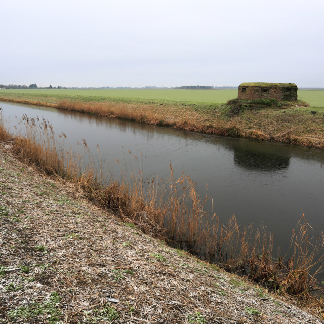 """World War 2 Pill Box, Old river Nene, Benwick village, Fenland;..."" stock image"