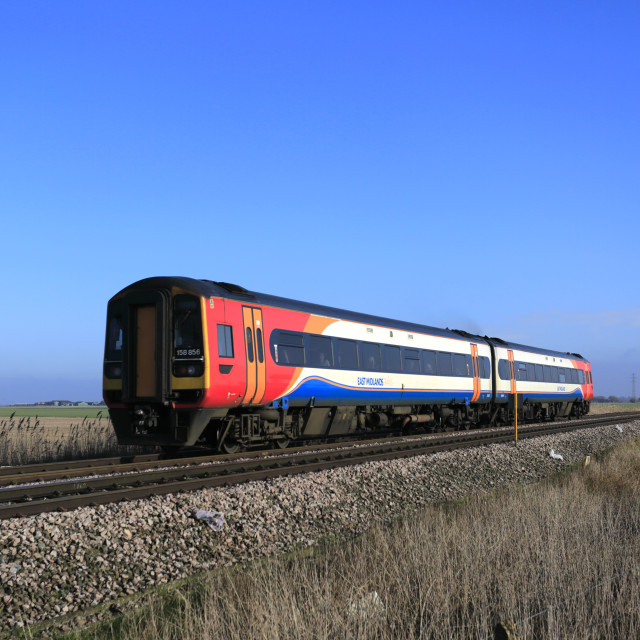 """""""East Midlands trains 158856, March town, Fenland, Cambridgeshire, England, UK"""" stock image"""