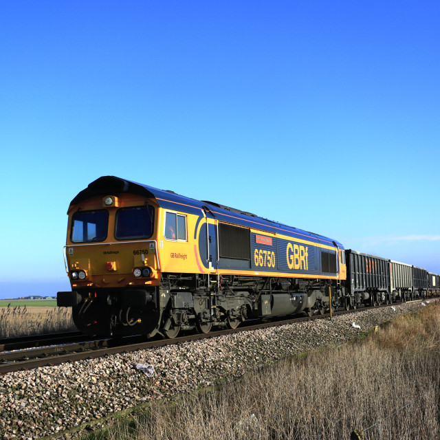 """""""GBRF trains, 66750 Freight Train from March town train station, Fenland,..."""" stock image"""