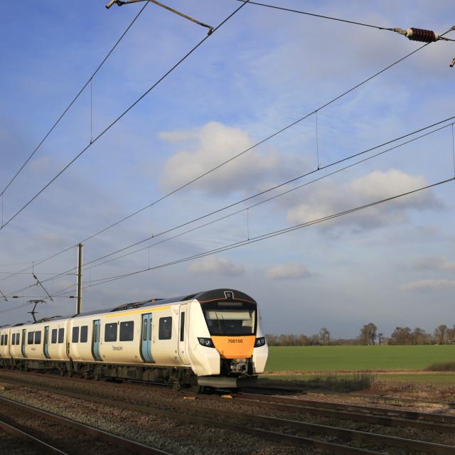 """700150 Thameslink train, East Coast Main Line Railway, Peterborough,..."" stock image"