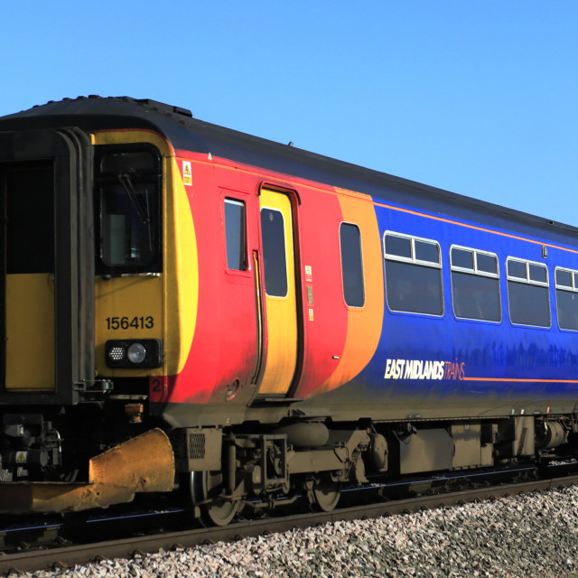 """""""East Midlands trains 156413, March town, Fenland, Cambridgeshire, England, UK"""" stock image"""