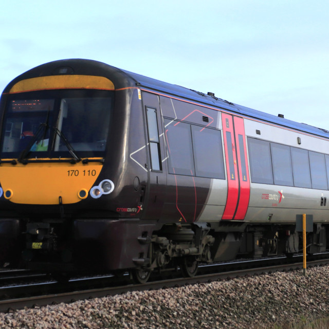 """Cross Country C2C Turbostar 170110, March town, Fenland, Cambridgeshire, England"" stock image"