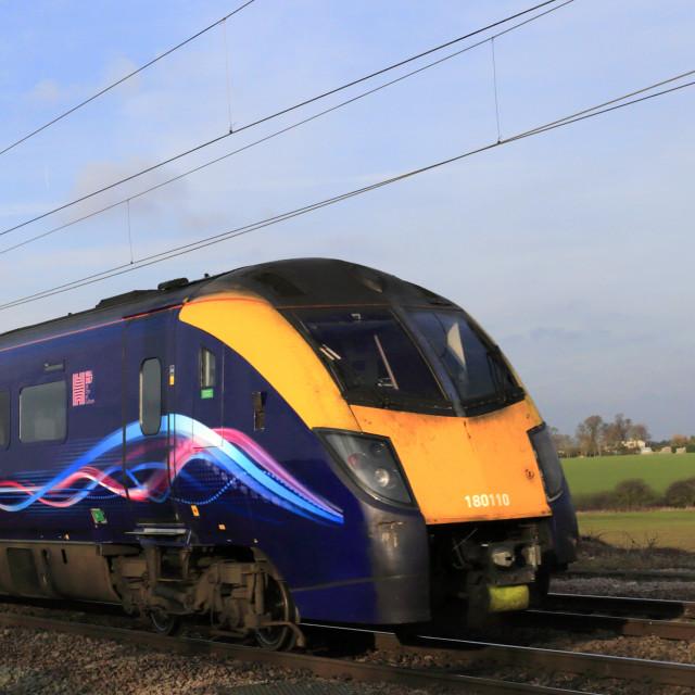 """Hull trains 180110 Zephyr class, East Coast Main Line Railway, Peterborough,..."" stock image"