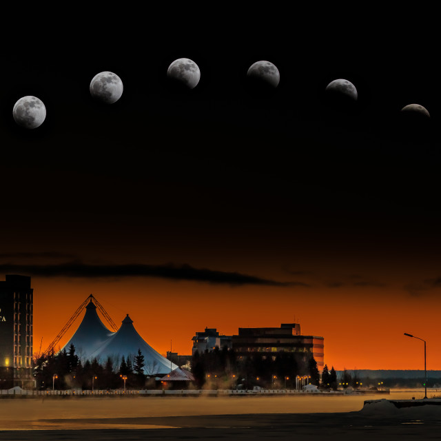 """Sault Ste. Marie Super Blood Wolf Moon Composite January 21, 201"" stock image"