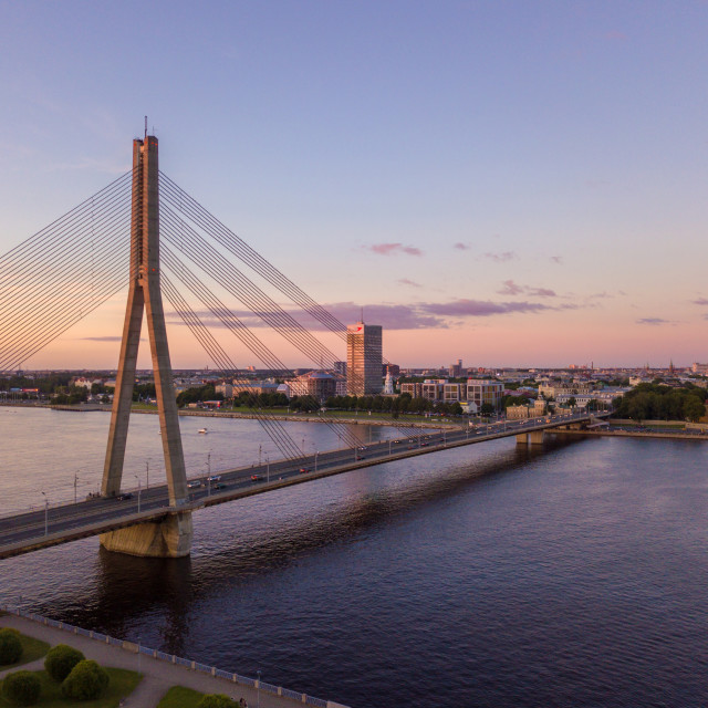 """Riga bridge over Daugava river"" stock image"