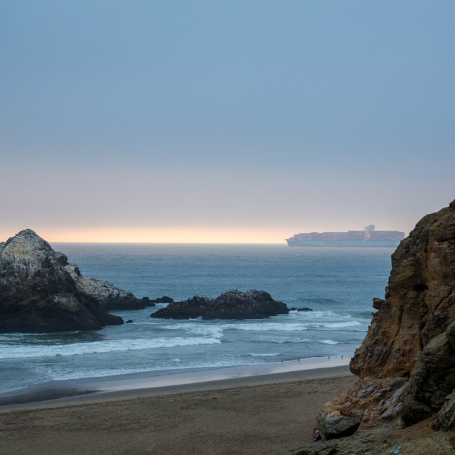 """""""Maersk tanker ship going out of the San Francisco"""" stock image"""