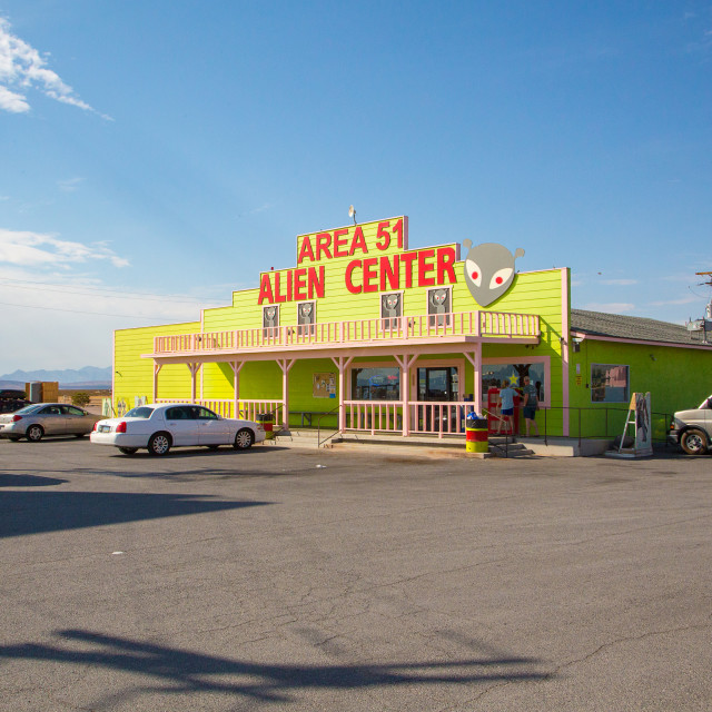 """Area 51 Alien Center shop and gas station"" stock image"