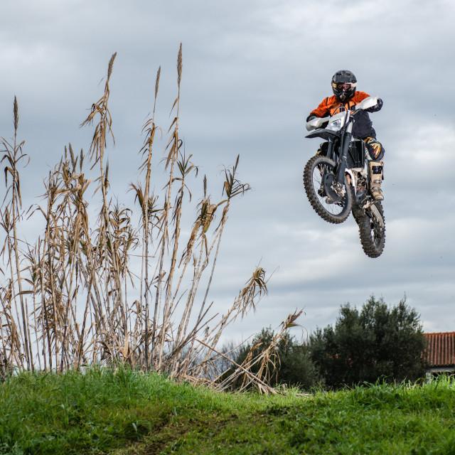 """""""Enduro bike rider"""" stock image"""