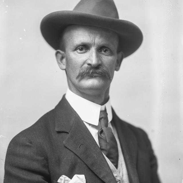 """""""VINTAGE PORTRAIT OF MAN IN FANCY HAT"""" stock image"""