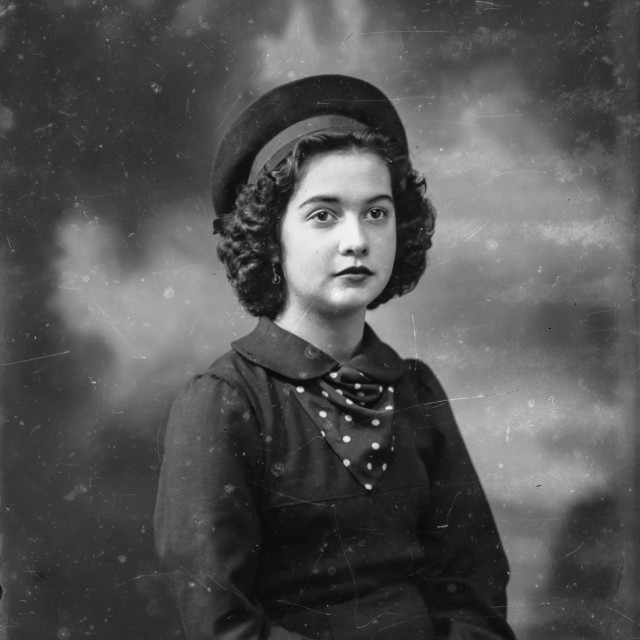 """VINTAGE PORTRAIT OF ELEGANT WOMAN FROM PERU"" stock image"
